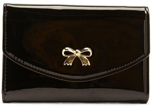 Forever21 Forever 21 Faux Patent Leather Bow , Black Wallet