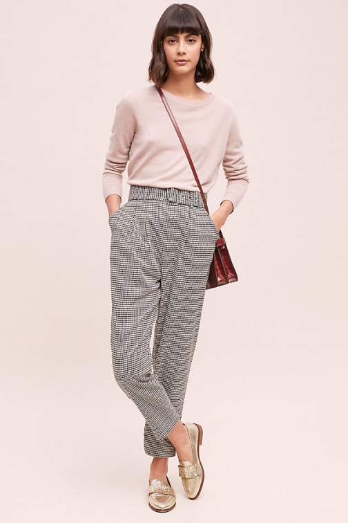 Anthropologie Belted Hound's-Tooth - Assorted, Size Uk Tapered Trouser