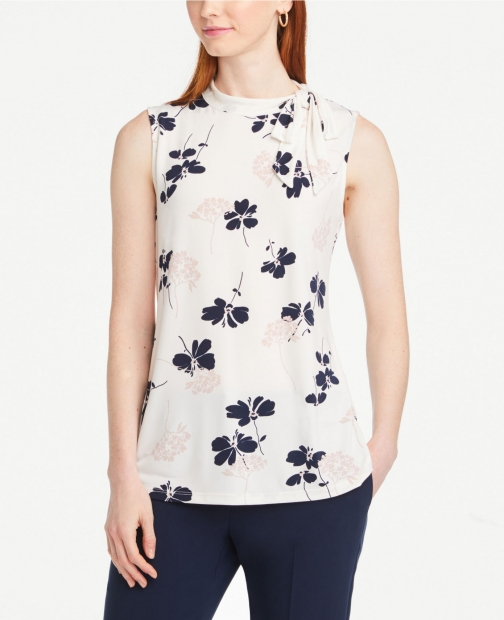 Ann Taylor Floral Neck Shell Tie