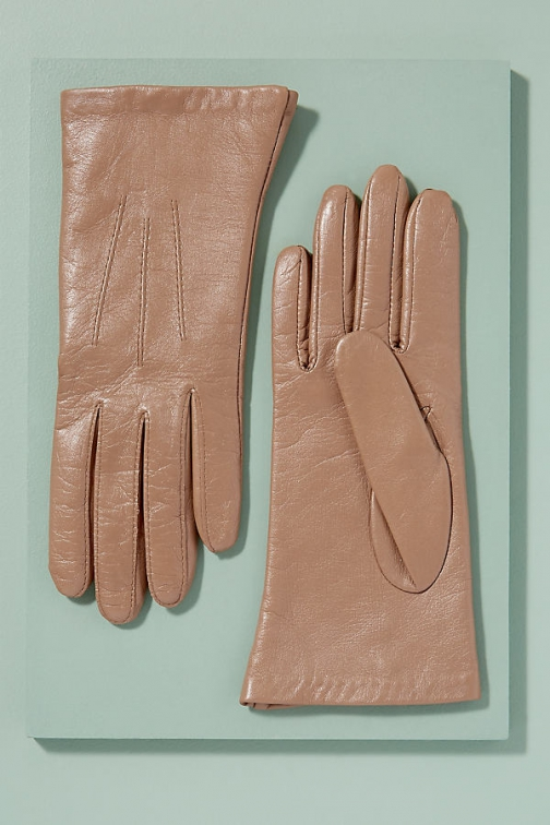 Anthropologie Silk-Lined Leather Glove