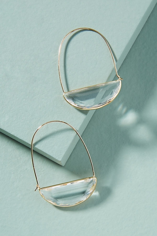 Anthropologie Stone Crescent Hoop - Clear Earring