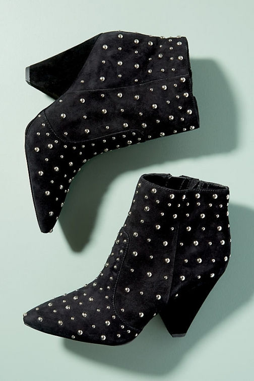 Anthropologie Sam Edelman Studded-Suede - Black, Size Ankle Boot