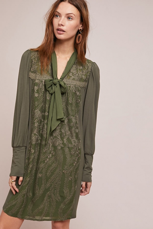 Anthropologie Susette Embroidered - Green, Size Tunic Dress