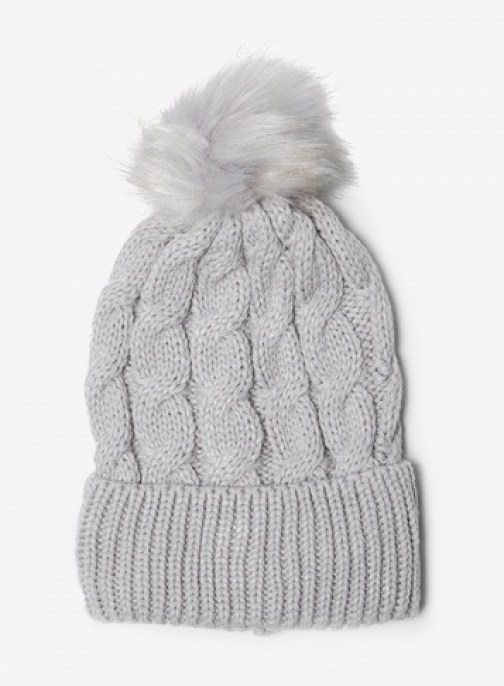 Dorothy Perkins Grey Cable Knit Pom Hat