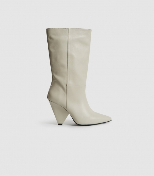 Reiss Jax - Leather Calf Length Ivory, Womens, Size 4 Boot