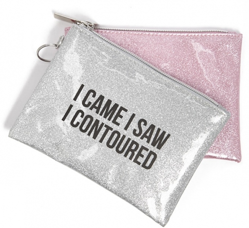 Forever21 Forever 21 Graphic Glitter Makeup Set , Pink/multi Pouch