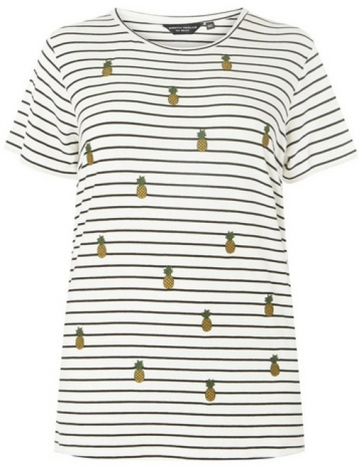 Dorothy Perkins Womens **DP Curve Monochrome Striped Pineapple Embroidered - White, White T-Shirt