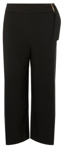 Dorothy Perkins Womens Black Horn Cropped - Black, Black Wide Leg Trouser