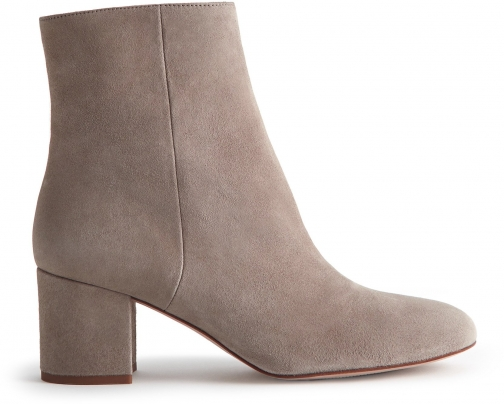 Reiss Delphine - Suede Block Heeled Grey, Womens, Size 4 Ankle Boot
