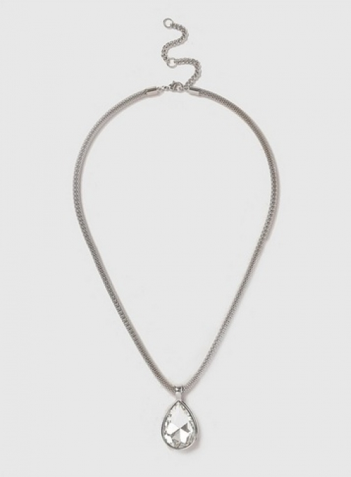 Dorothy Perkins Womens Silver Look Crystal Stone Necklace- Silver, Silver Pendant