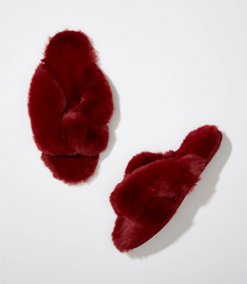 Loft Criss Cross Faux Fur Slippers