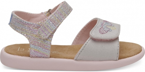 Toms Pink Twill Glimmer Tiny TOMS Strappy - Size UK8 / US9 Sandal