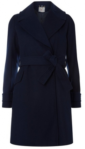 Dorothy Perkins Womens Petite Navy Belted Wrap - Blue, Blue Coat