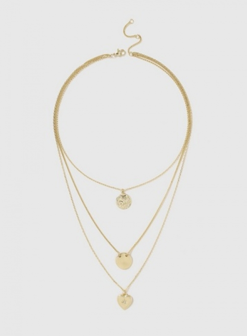 Dorothy Perkins Womens Gold Look Heart Coin Multi Drop - Gold, Gold Necklace