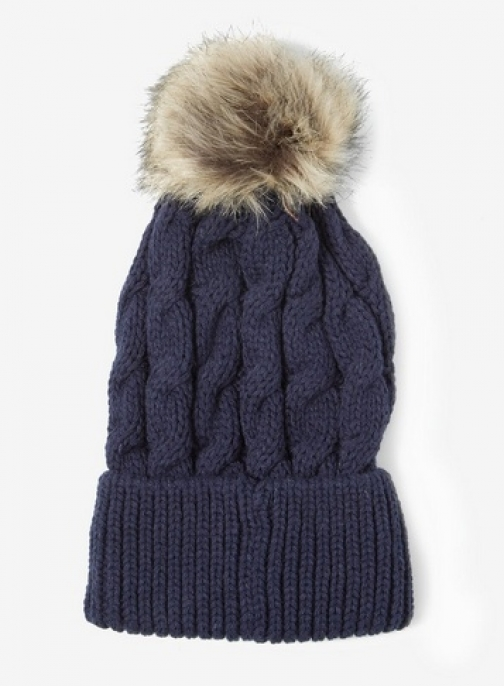 Dorothy Perkins Womens Navy Cable Knit Pom - Blue, Blue Hat