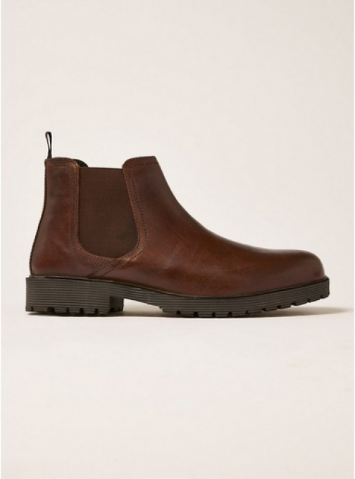 Topman Mens Brown Tan Leather Empire Chelsea , Brown Boot