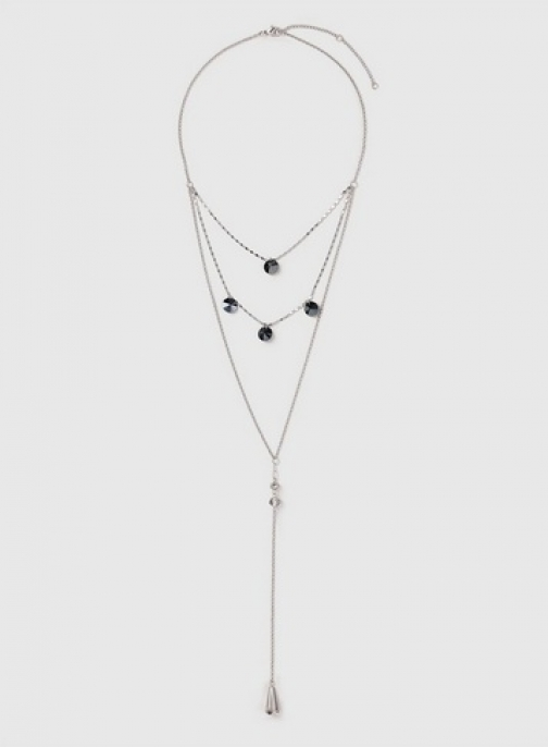 Dorothy Perkins Womens Silver Look Three Row Bead Lariat - Silver, Silver Necklace