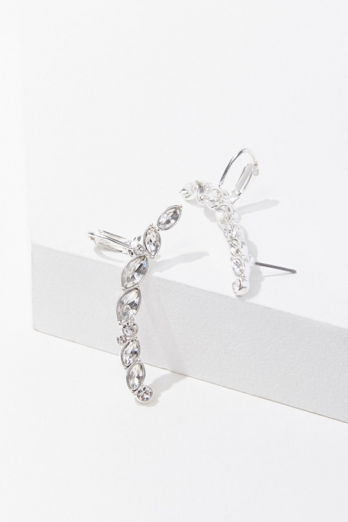Forever21 Forever 21 Faux Gem Ear , Silver/clear Cuff