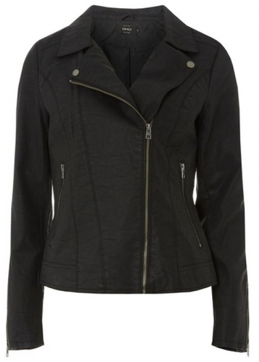 Dorothy Perkins Womens **Only Black Faux - Black, Black Leather Jacket
