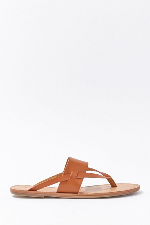 Forever21 Forever 21 Thong Faux Leather , Tan Sandals