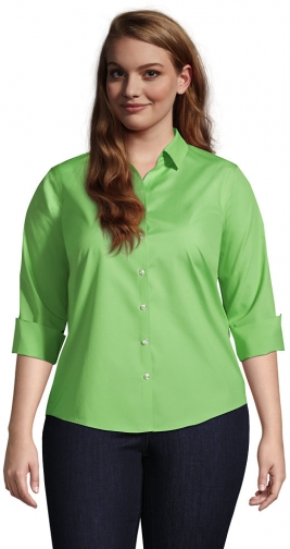 Lands' End Women's Plus Size 3/4 Sleeve No Iron Broadcloth - Lands' End - Green - 18W Shirt