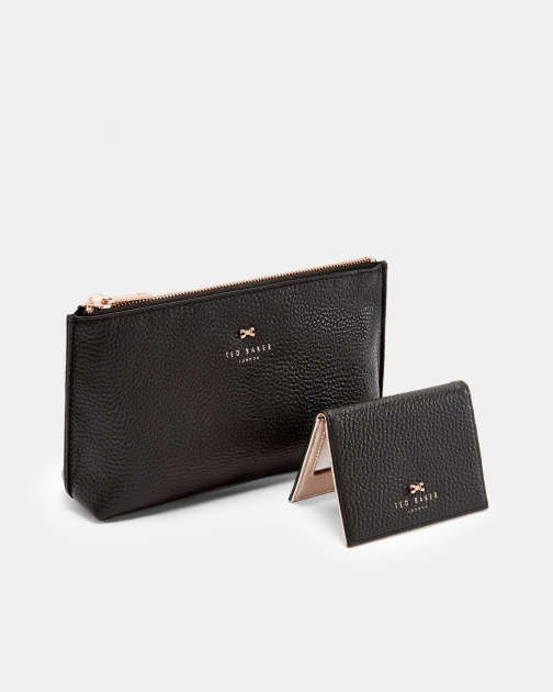 Ted Baker Leather And Mirror Set Wash Bag