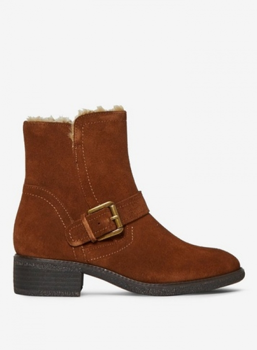 Dorothy Perkins Womens Brown Leather 'Action' - Brown, Brown Biker Boot