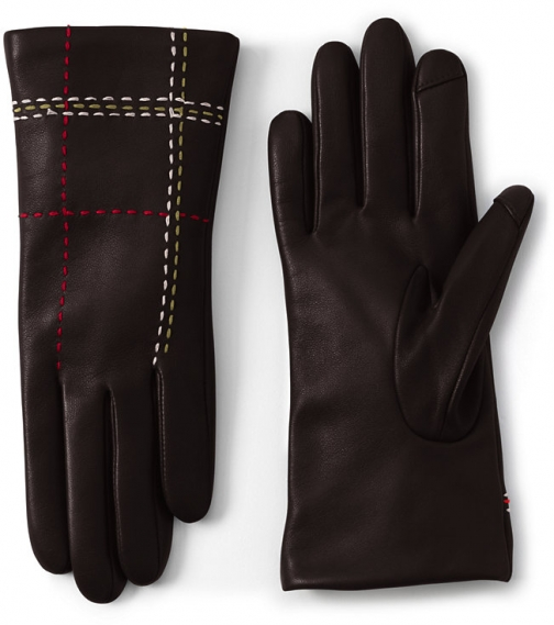Lands' End Women's Cashmere Lined Leather Stitched - Lands' End - Black - S Glove