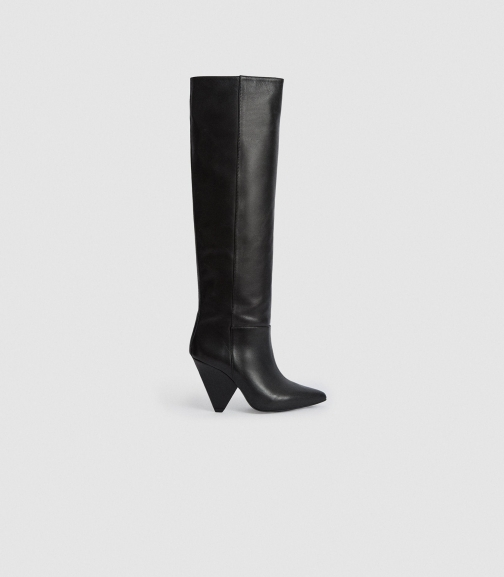 Reiss Jax - Leather Black, Womens, Size 4 Knee High Boots
