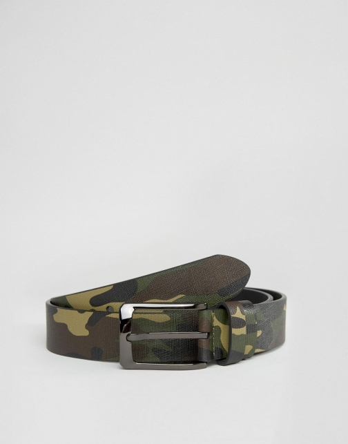 Asos Smith And Canova Camo Print Leather Belt