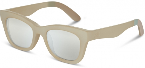 Toms Traveler By TOMS Paloma Matte White Asparagus With Mother Of Pearl Mirror Lens Sunglasses