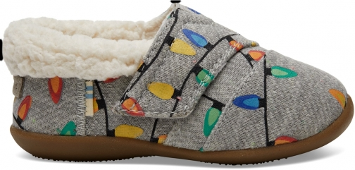 Toms Light Grey Glow The Dark Tree Lights Tiny TOMS House - Size UK8 / US9 Slipper