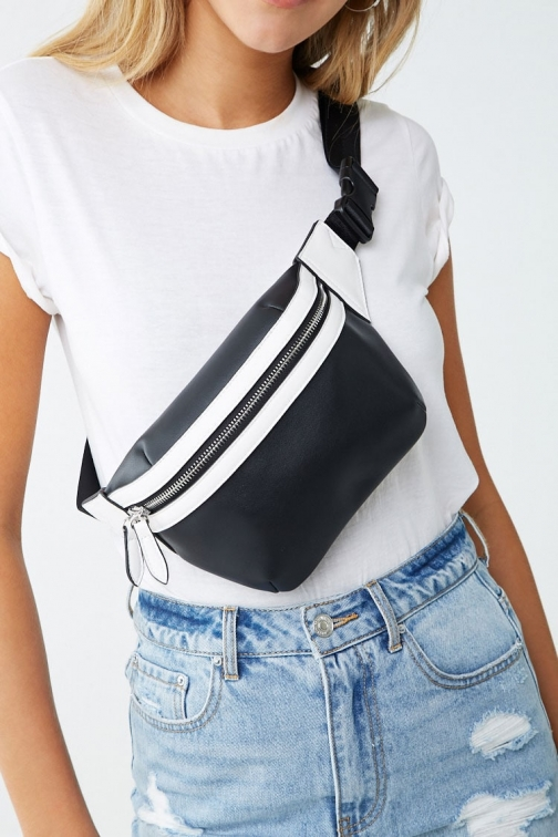 Forever21 Forever 21 Faux Leather Contrast , Black/white Fanny Pack