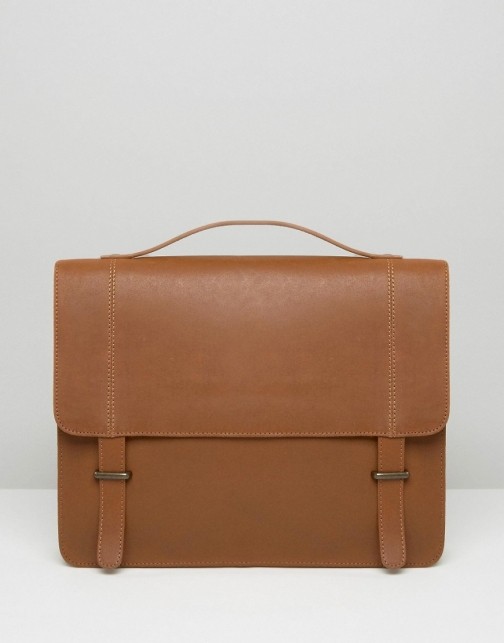 Asos Leather Tan With Metal Keepers Satchel