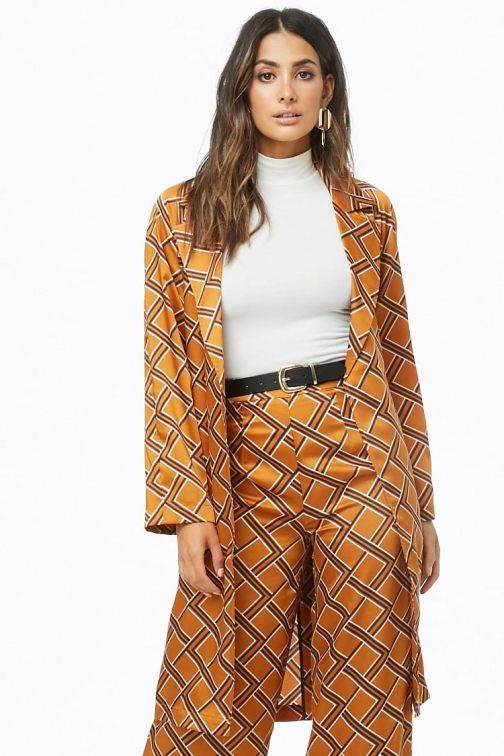 Love21 Geo Print Satin Duster At Forever 21 , Amber/navy Jacket