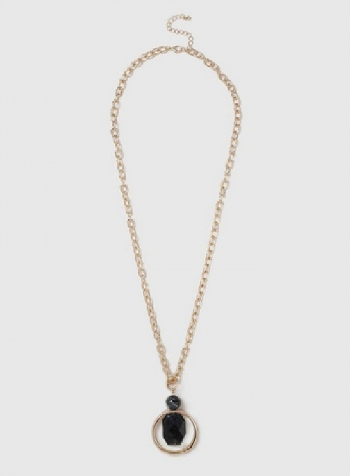 Dorothy Perkins Womens Resin Necklace- Black, Black Pendant