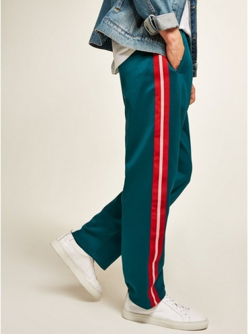 Topman Mens Blue Teal Taping Poly Tricot Joggers, Blue Athletic Pant