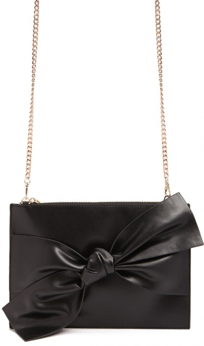 Forever21 Forever 21 Bow Faux Leather , Black Clutch