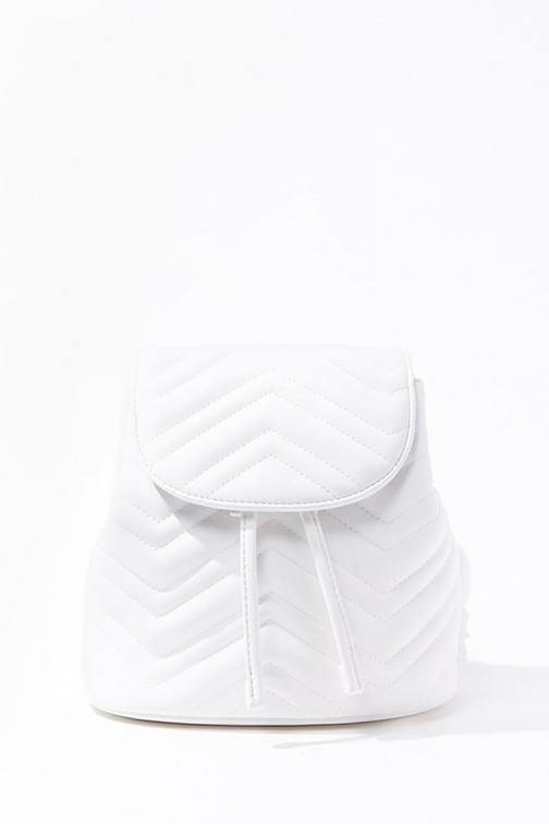 Forever21 Forever 21 Faux Leather Chevron , White Backpack