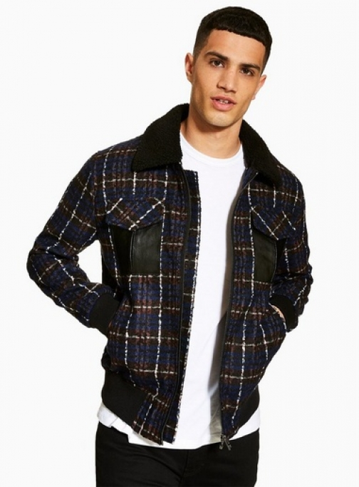 Topman Mens Red Borg Collar Faux Wool , Red Bomber Jacket