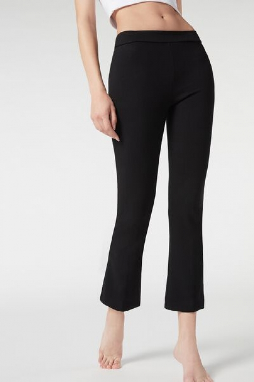 Calzedonia Cropped Flared Woman Black Size L Legging