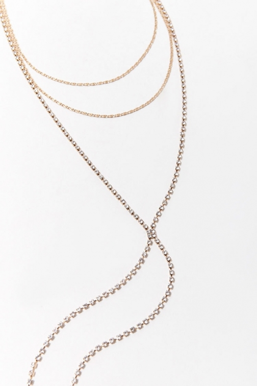 Forever21 Forever 21 Layered Drop-Chain , Gold Chokers