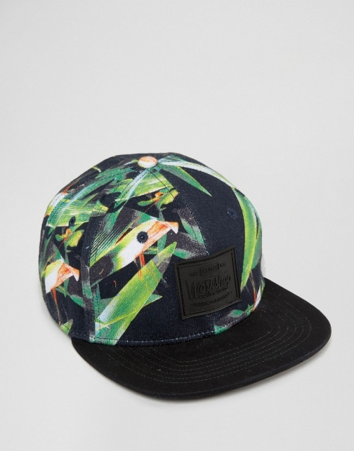 Asos Artsac Workshop Snapback With Tropical Print Cap