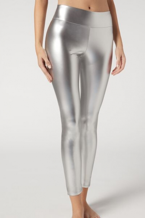 Calzedonia Leather Effect Woman Grey Size L Legging