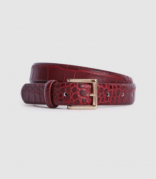Reiss Molly - Leather Crocodile Patterned Berry, Womens, Size XS Belt