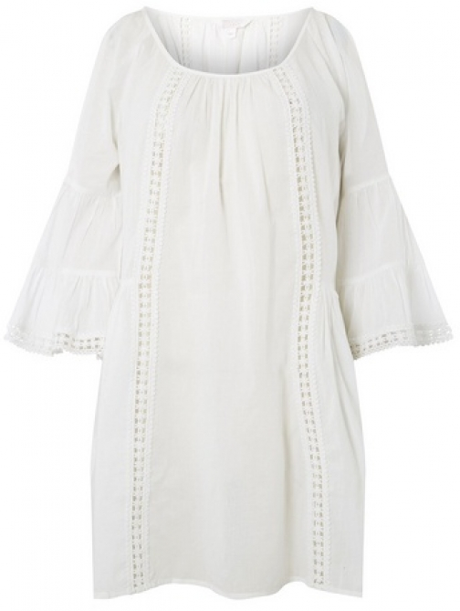 Dorothy Perkins Womens *DP Ivory Lace Insert Detail Cover Up- Ivory, Ivory Beach