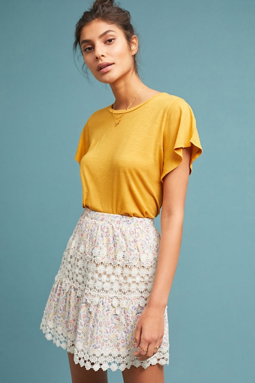 Anthropologie Cecile Flutter-Sleeve Tee - Yellow, Size T-Shirt