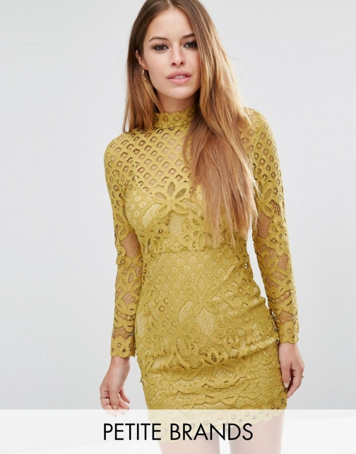 Asos Missguided Petite High Neck Lace Mini Dress