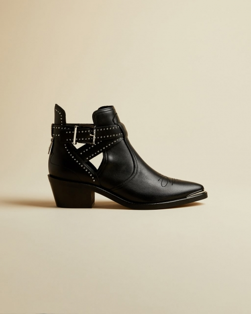 Ted Baker Buckle Detail Leather Western Boot