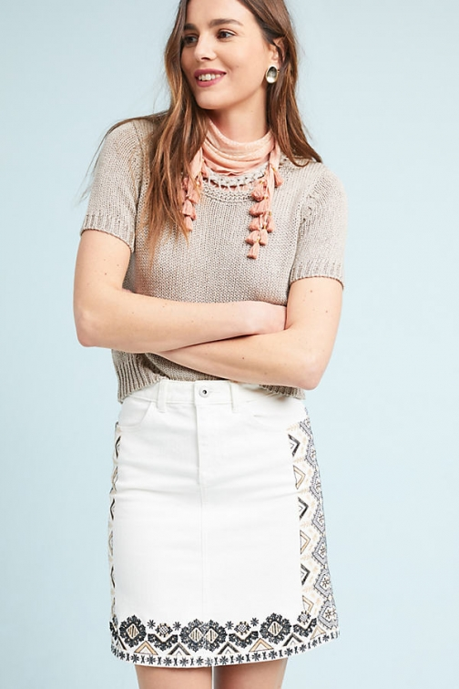 Anthropologie Pilcro Embroidered Denim - White, Size Uk Mini Skirt